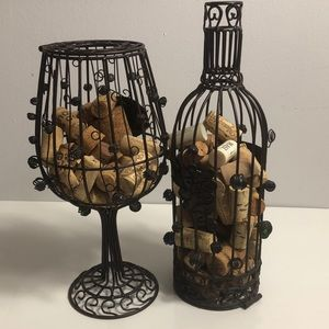 Bottle and glass of wine corks holder